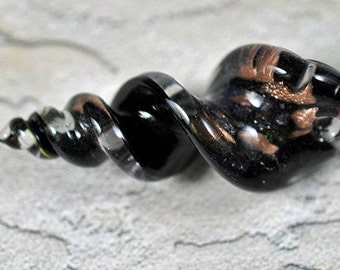 Black and copper glass pendant, swirl, top drilled, 60x25mm, #245