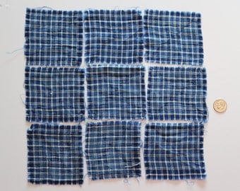 Antique Indigo Blue and White Squares (9) Antique- TINY Windowpane Homespun - Blue and White Fabric