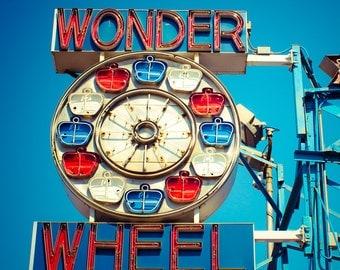 Ferris Wheel Art, Fine Art Photography, Coney Island, Brooklyn, New York, Neon Sign, Wall Art, Carnival Decor, Kids Room Art, Nursery Decor