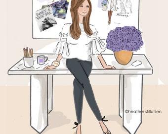Wall Art for Women -  Work Hard and Be Determined - cards for friends - Wall Art Print -  Digital Art Print -  Wall Art -- Print