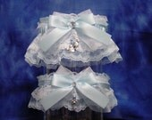 Blue Disney Inspired Mickey & Minnie Mouse Wedding Garter Set