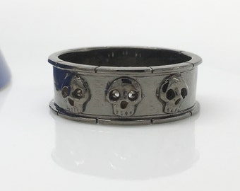 Black skull ring, immortal pledge skull ring, unique wedding band, men's wedding ring, men's skull ring, skull eternity ring