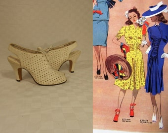 Oh They Won't Forget - Vintage 1930s NOS Ivory Nubuck Leather Open Toe Perforated Heels Slingback Shoes - 3 1/2B