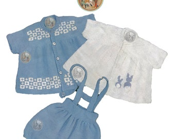 Vintage Knitting Pattern- Baby Smock Tops Diaper Cover Bunny Embroidery Design - Instant Download PDF - PrettyPatternsPlease