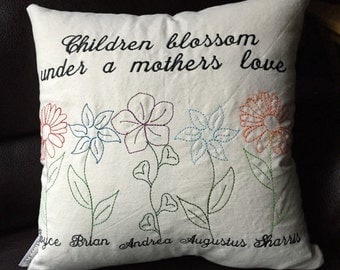 "18""x18"" Mother's Day Pillow Cover - Custom Embroidered Decorative Keepsake Pillow - Perfect Mother's Day Gift - Children Blossom  with love"