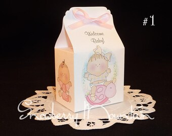 Turtle Baby Girl - Baby Shower Favor Box Kits - Set of 12