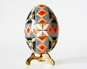Pysanka,traditional design Ukrainian Easter egg,batik decorated egg shell,hand painted egg,Retirement gift new chapter in life,floral motif