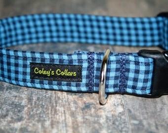 "Mini Buffalo Plaid Dog Collar ""The Bennett in Blue"" Gingham Plaid Dog Collar"
