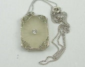 1920 30's  Lovely Art Deco Camphor Glass Open Work Filigree Pendant With Rhinestone on Sterling Silver Chain