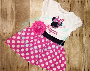 Minnie Mouse dress, Disney dress, pink polka dot dress, Disney dress, Birthday dress