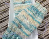 Frozen themed, green/ purple, cosplay, hand spun, hand knitted 8 inch long, fingerless gloves, texting gloves, medium size