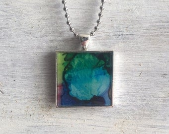 Handmade resin necklace pendant