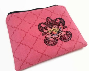 Lotus Zippered Clutch, Zen Style, Henna Style, Cell phone holder, Makeup Bag, Zippered bag, Zippered Wallet,  Travel Bag, Embroidered Clutch