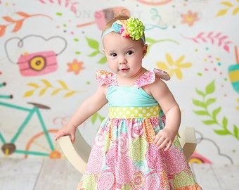 The Sadie Sherbet flutter dress for girls toddlers babies