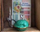Antique Enamel Walnut Sewing Kit Thimble Holder Needlebook Etui