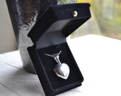 Sterling Silver Heart Locket-Vintage Heart Locket-Puffed Heart Locket- Antique Silver Heart Pendant-Heart Necklace-Heart Charm-Love