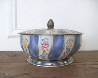 Belgique Coffret, vintage blue floral biscuit tin - 1950s round metal box with footed base - vanity, boudoir, storage, cookie, Belgium candy
