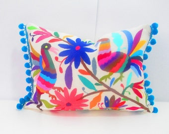 Mexican Otomi pillow cover, handmade, colorful decorative blue lumbar pillow, 13x16 Unique piece of mexican culture, embroidered cushions