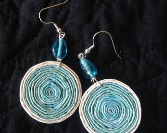 n. 2 TURQUOISE & WHITE coiled recycled paper pierced earrings with aqua glass beads