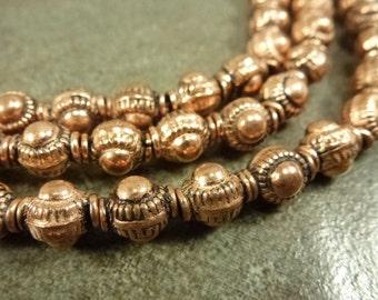 Copper Beads Sunburst Knob 7.5x6mm Antiqued Finish 10pcs