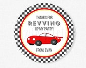 Race Car Favor Tags, Race Car Birthday, Red Car Party Favors, Racing Thank You Tag, Car Party, Black Checkered, Personalized