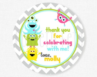 Little Monster Favor Tags, Monster Gift Tag, Monster Bash Tag, Thank You Tags, Monsters Tag, Girl Birthday Favors, Personalized