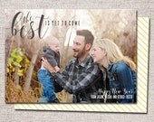 """New Years Card, Photo New Years Card, Holiday card, Printable New Years Card, Modern New Years card, New Years (""""The Best is Yet to Come)"""