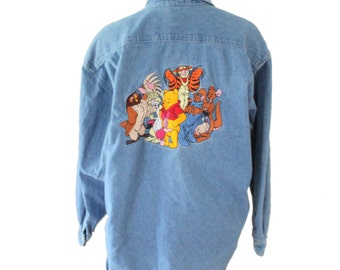 Vintage 90s Winnie the Pooh Tigger Embroidered Denim Shirt // Women L // The Disney Store