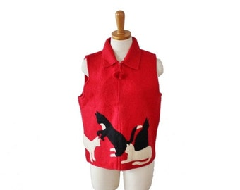 back to school sale // Vintage 90s does 20s CATS Red Black Sweater Felted Wool Vest - Ladies Small, primitive design, folk art style
