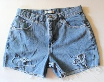 Vintage 90s RIDERS Destroyed Cut Off Denim Shorts Women L XL