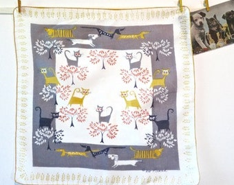 Vintage 1950s Pat Prichard Cats and Dogs Handkerchief