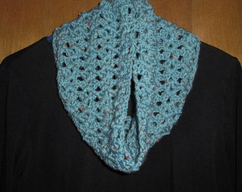 Blue Crocheted Neckwarmer Cowl