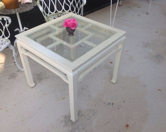 FRETWORK MING SIDE TABLe Hollywood Regency Style Ming Table / Fretwork Side Table Glass Top / Chinoiserie Style at Retro Daisy Girl