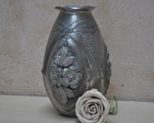 French Art Nouveau Pewter Vase - Signed L. Houzeaux