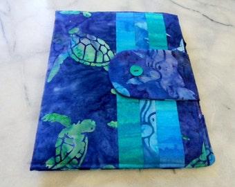 Sea Turtle and Whales Batik iPad Cover