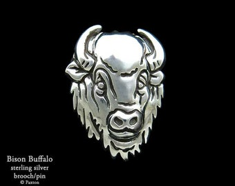 Bison Buffalo Brooch Pin Sterling Silver