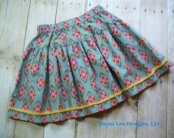 Girls Blue Medallion Skirt,Girls Skirt,Girls Clothing,Toddler Skirt,Blue,Pink Yellow, Little Girls Skirt, Sizes 24MO,2T, 3T,4T,5T,6,7,8,9,10