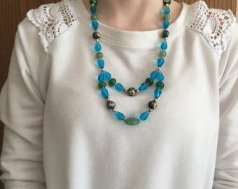 Green Cloisonne and Aqua Double Layered Beaded Necklace