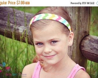 SUMMER SUPER SALE Chevron Fabric Covered Headband