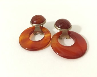 Amber Agate Slice Pierced Earrings 1980s