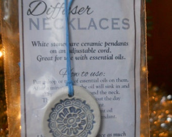 Diffuser Necklace - White Stoneware - Floral design- Blue