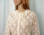 Vintage 1970s Lace Blouse Cream Ivory Semi Sheer Peplum Shirt Top / Small