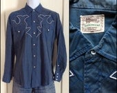 1950's Blue Patterned Cowboy Western Shirt looks size S-M HBarC Ranchwear with white piping 2 tone