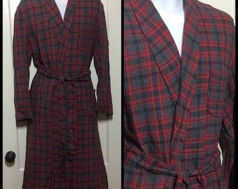 1950s Plaid Rayon Smoking Jacket long Robe looks size Medium to Large Gray Red black