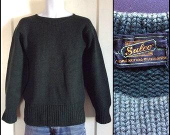 Vintage 1940s Dark Green Football sweater looks size medium to large Sulco all wool Prospect Knitting Mills, Boston