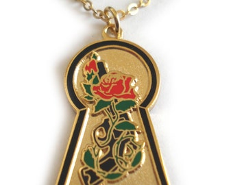 Dark Tower Stephen King Book Series Keyhole Key Hole Rose Gunslinger Pendant Necklace Charm with Chain