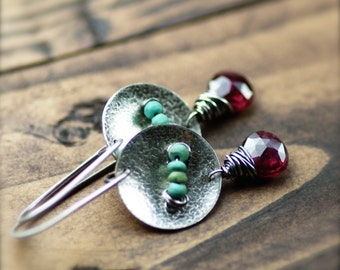 Garnet and Turquoise Gemstone Earrings Oxidized Sterling Silver