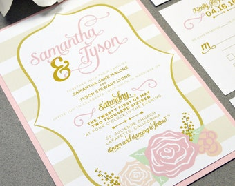 Blush and Gold Wedding Invitation Suite - Floral Wedding Invite Set - Calligraphy Wedding Invitations - Rose Wedding Pocket Invite Striped