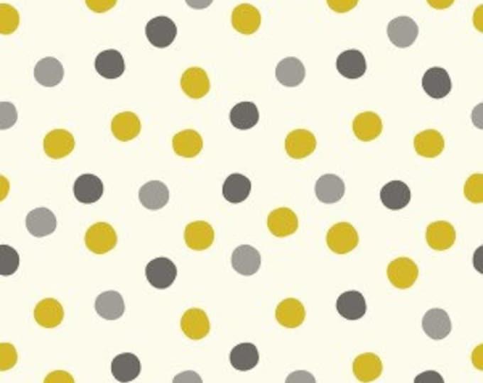 Organic KNIT Fabric - Birch Mod Basics 3 Knits - Pop Dots Golden Knit