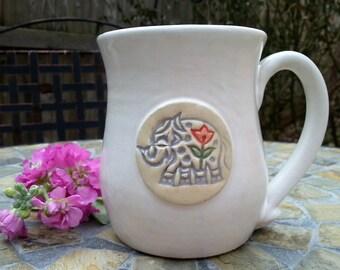 Ready to Ship: Ceramic Elephant Mug, Coffee Mug, Coffee Cup, Tea Cup in White and Grey, 12 ounce